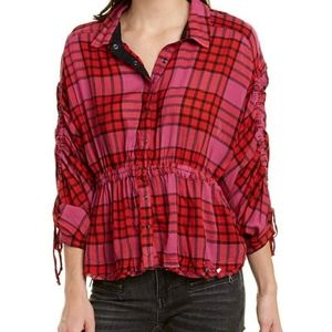 Anthropolo Free People Women's Plaid Ruched-Sleeve